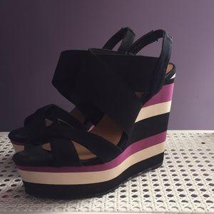 Madden Girl Striped Wedge Heel Sandals